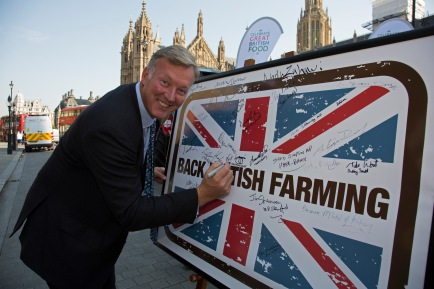 The National Farmers Union (NFU) took machinery, produce, farmers and staff to Westminster to encourage Members of Parliament to back British farming, post Brexit on 14th September 2016 in London, United Kingdom. MPs were encouraged to sign the NFU's pledge and wear a British wheat and wool pin badge to show their support.