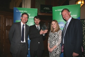 From left to right is BPC Chairman John Reed, Award winner Nicholas Ham and partner Stacey Hamblin and Bill Wiggin MP