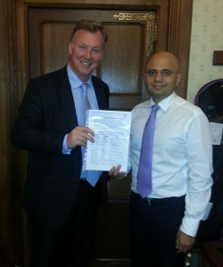 Bill handed over Fownhope petition to Sajid Javid MP, Secretary of State at DCMS.